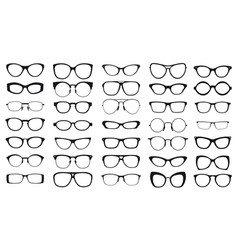 set black glasses on white background vector image