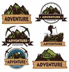 set camping logos templates design vector image