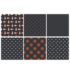 Set dark seamless marine pattern vector