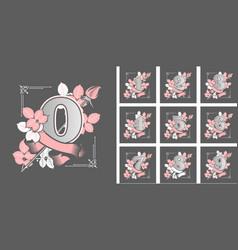 set flower numbers vector image