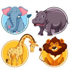 set of african wildlife in circle banner vector image