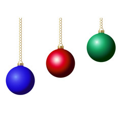 set of christmas ball decoration blue red and vector image