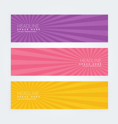 set of three abstract banners with rays vector image