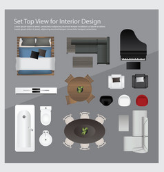 Set top view for interior design vector