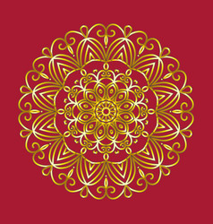 simple gold circular pattern on red background vector image