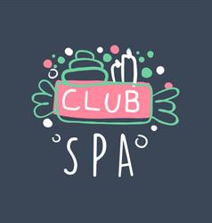 spa club logo badge for wellness yoga center vector image