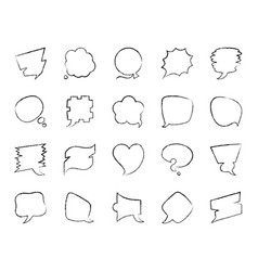 speech bubble charcoal draw line icons set vector image