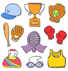 Sport equipment cartoon doodle style vector