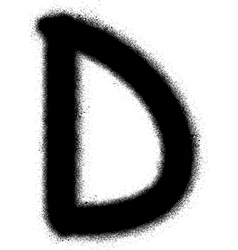 sprayed D font graffiti in black over white vector image