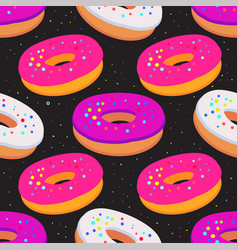 Sweet seamless pattern with glazed donuts on a vector