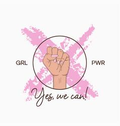 t-shirt design for girl power concept vector image