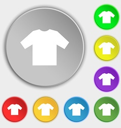 t-shirt icon sign Symbol on five flat buttons vector image