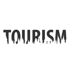 tourism text or labels with silhouette of forest vector image