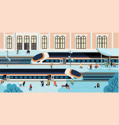 trains stopped against railway station building on vector image