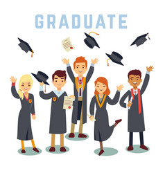 University young graduate students graduation and vector