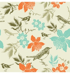 Vintage Birds Pattern vector