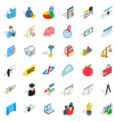 wall icons set isometric style vector image
