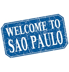 Welcome to Sao Paulo blue square grunge stamp vector