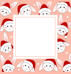 white rabbit santa claus on pink banner card vector image