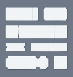 White ticket mockups concert theater paper vector