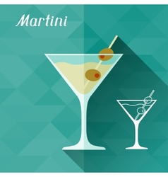 with glass martini in flat design style vector image