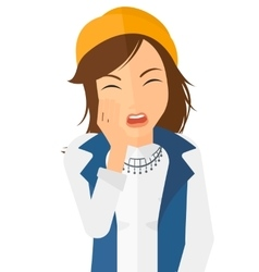 Woman suffering from tooth pain vector
