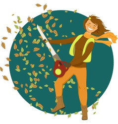 Woman with a leaf blower vector