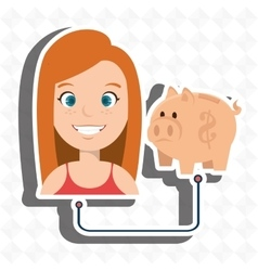 woman with piggy isolated icon design vector image