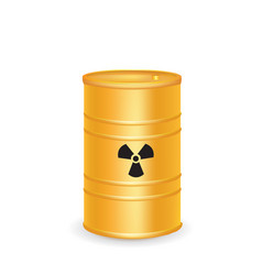 Yellow waste barrel vector