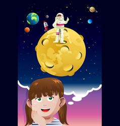 Young girl aspiring to be an astronaut vector