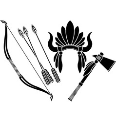 american indian headdress tomahawk and bow vector image