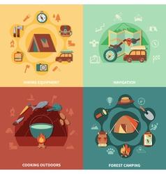 Camping flat set vector image