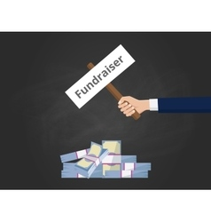 Fundraiser with businessman hold a vector