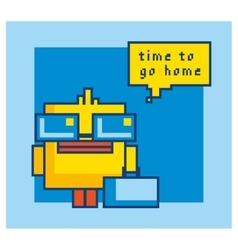 Pixel art yellow bath duck isolated vector image