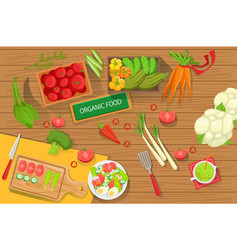 Table with fresh organic vegetables and cooking vector