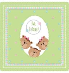 Three happy baby triplets vector image vector image