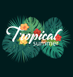 Tropical summer poster with tropic leaves vector