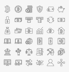 bitcoin line icons set vector image vector image