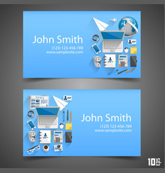 flat icons on cards vector image vector image