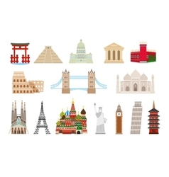 World landmarks icons in flat style vector image vector image