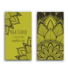 yoga studio business card with green mandala vector image vector image