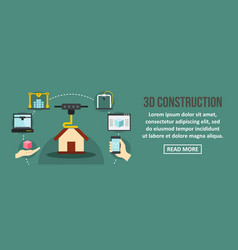 3d contruction banner horizontal concept vector image