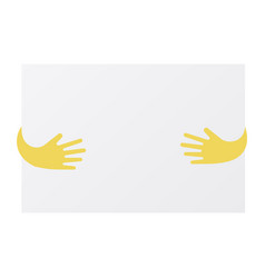 abstract hands holding blank sheet of paper vector image