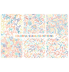 collection of colorful hand drawn seamless vector image