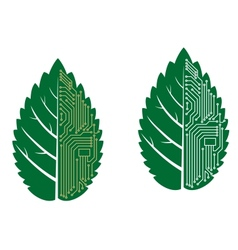 Green leaf with computer and motherboard elements vector image vector image