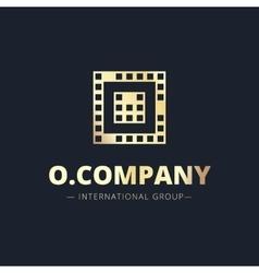 Metal style geometric o letter logo vector