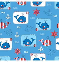 Seamless pattern with whales 2 vector image vector image