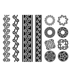 celtic borders patterns and rings set vector image vector image