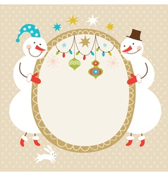 Cute snowmen and frame for text vector image