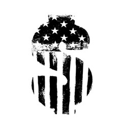 dollar sign black on white isolated symbol vector image